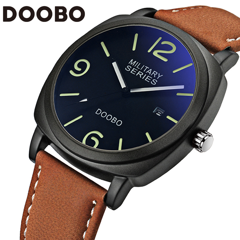 Top Brand Luxury Leather Men's Quartz Fashion Casual Sports Army Watches Men Military Date Wrist Watch Relogio Masculino DOOBO weide new men quartz casual watch army military sports watch waterproof back light men watches alarm clock multiple time zone