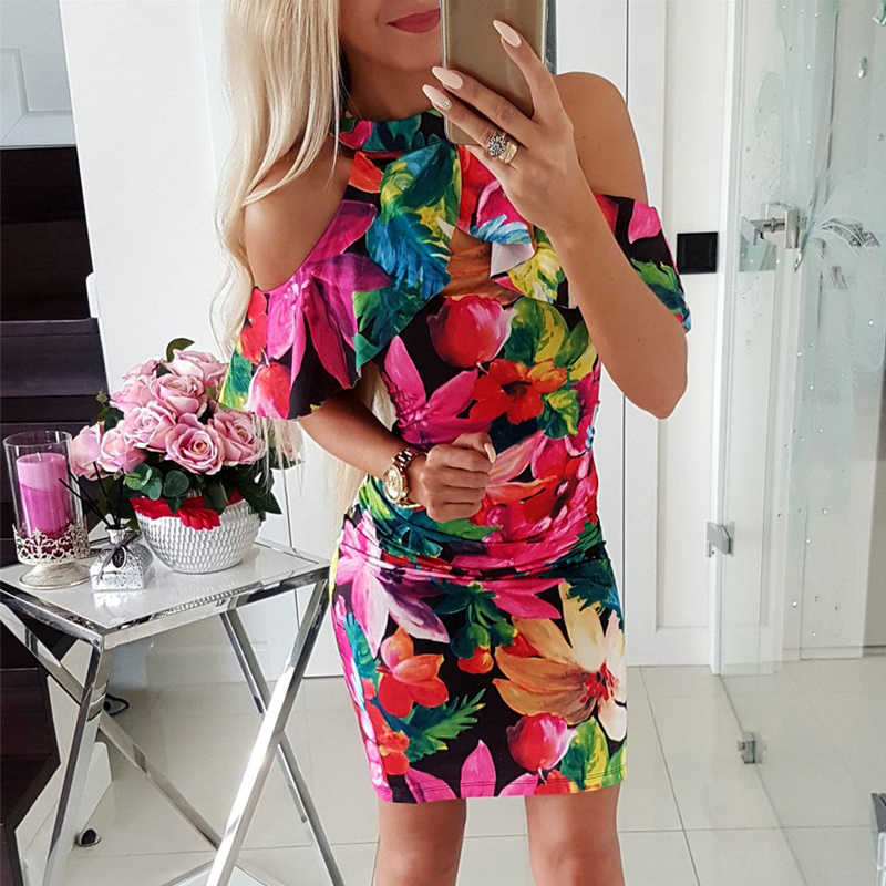 Women Dress Sexy O-Neck Off Shoulder Short Sleeve Print Bodycon Dress Ladies Summer Mini Dress for Party Streetwear