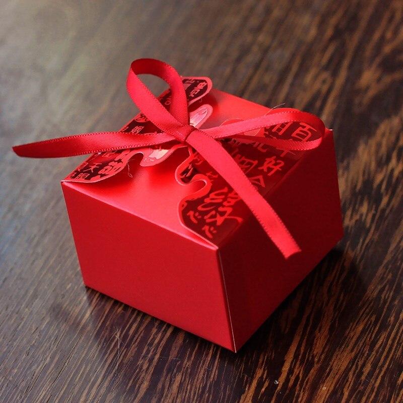 Wedding Preservation Boxes: 30pcs/lot Wedding Cardboard Candy Storage Box Ribbon Red