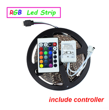 Free shipping 5M/roll 60led/M led strips smd 3528 DC12V safe led bar light plus 24Key IR remote controller with DC wire