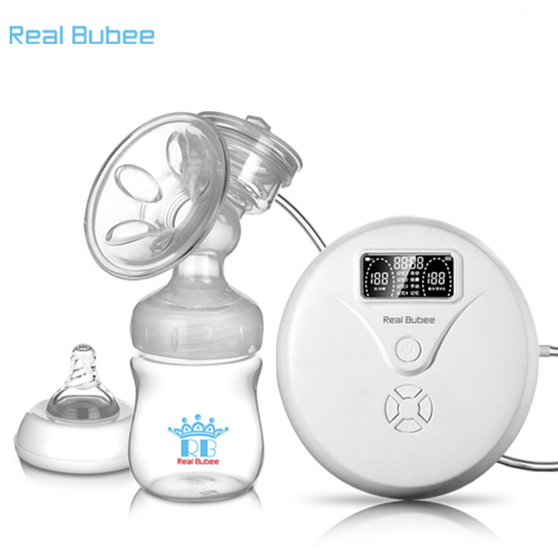 Real Bubee 2017 hot sale Microcomputer intelligent Natural frequency conversion electric breast pump with baby feeding bottle multifunctional portable babies intelligent milk bottle feeding temperature indication low power warning timed reminder
