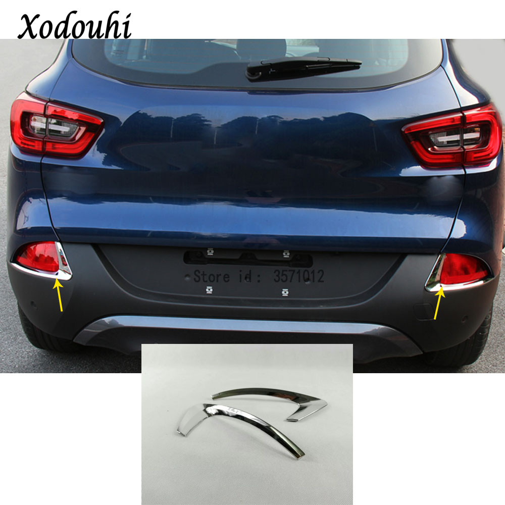 For Renault Kadjar 2016 2017 2018 car body detector ABS Chrome trim back tail rear fog light cover lamp frame stick part 2pcs car front fog lamp cover rear tail fog lamp cover trim abs chrome fit for citroen c4l 2013 2014 2pcs per set