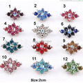 Pretty Silver Tone Crystals Flower Small Pin Brooches Mini Costume Jewelry Collar Pins