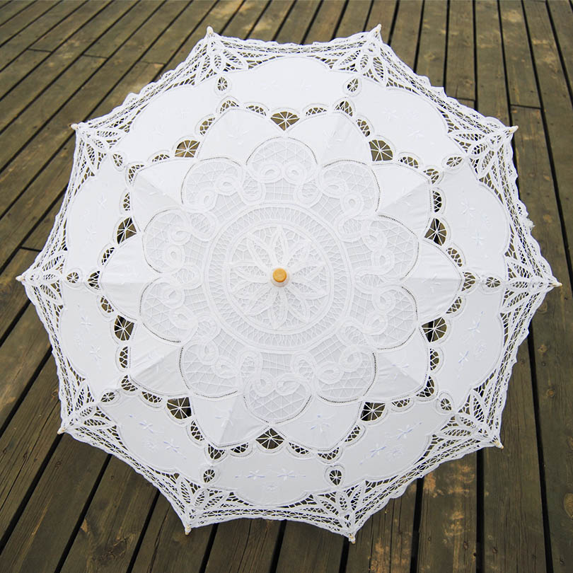 QUNYINGXIU 2019 Exquisite White Umbrella Elegant Wood Craft Lace Classcial Style Handmade Long-handle Asia style Umbrella