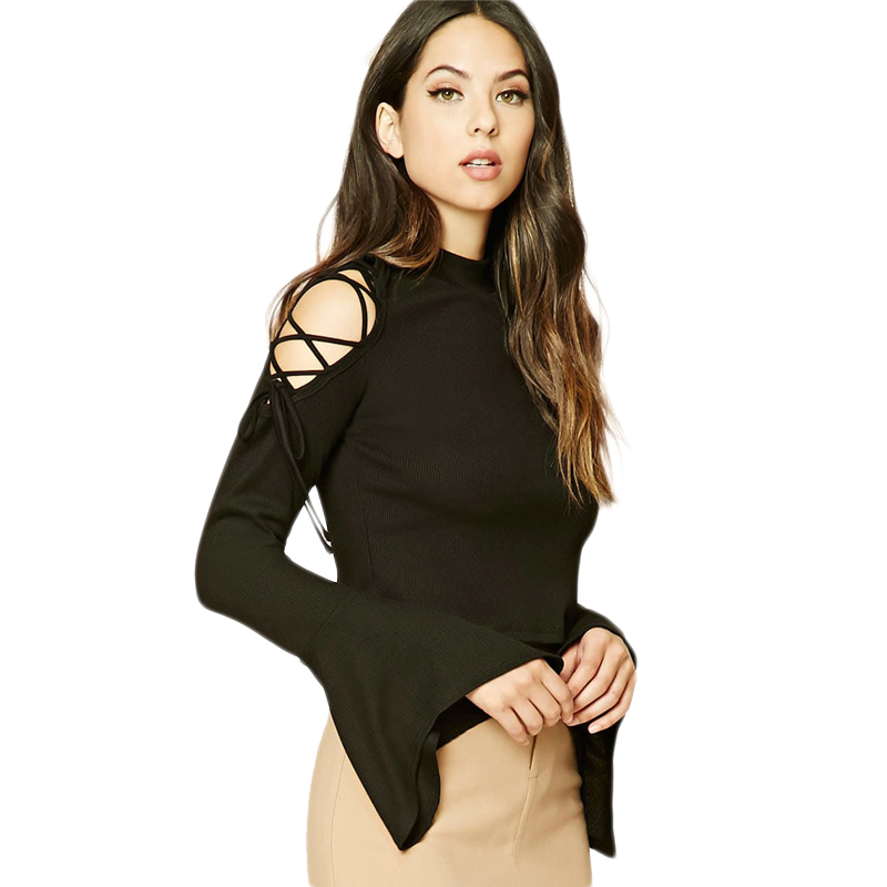 0cbb035edeebb4 Black flare sleeve mock neck lace up cold shoulder cropped ribbed tops for women  ladies sexy slim fit midriff baring tees tshirt