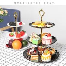 Тарелка для фруктов в европейском стиле трехслойная стойка для закусок гостиная миска для фруктов Свадебная подставка для торта конфетная стойка десерт стойка для хранения овощей