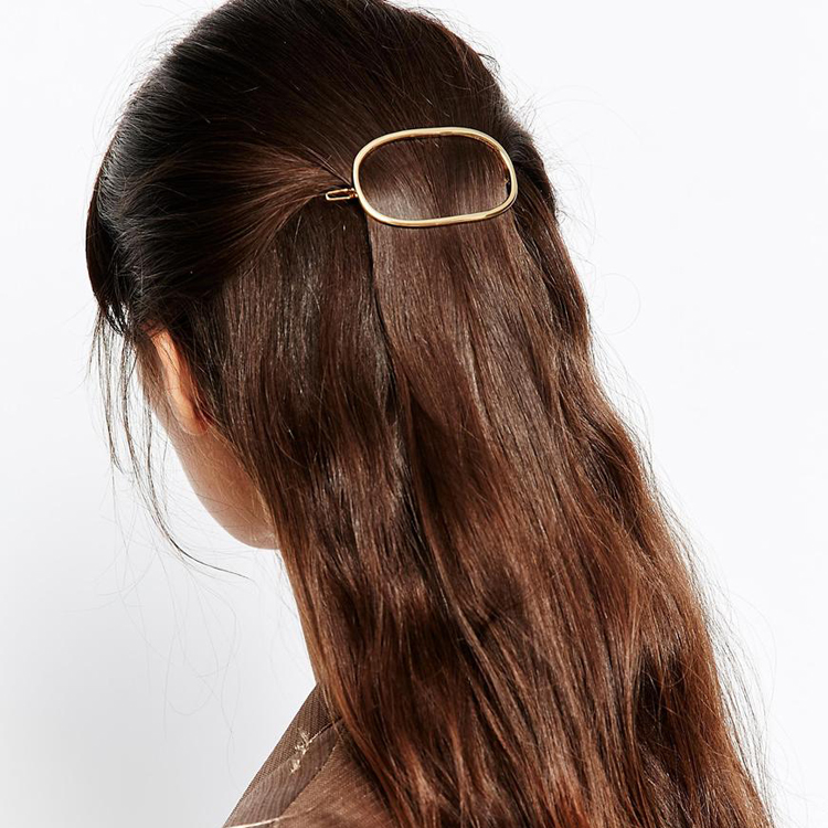 Fashion Branded Design Oval Geometry Simple Metal Hairpins Clips Classic Women Hair Accessories