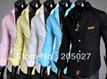 wholesale 2013 New 5 colors!mens shirts slim white-and-black color matching long sleeves shirts for men