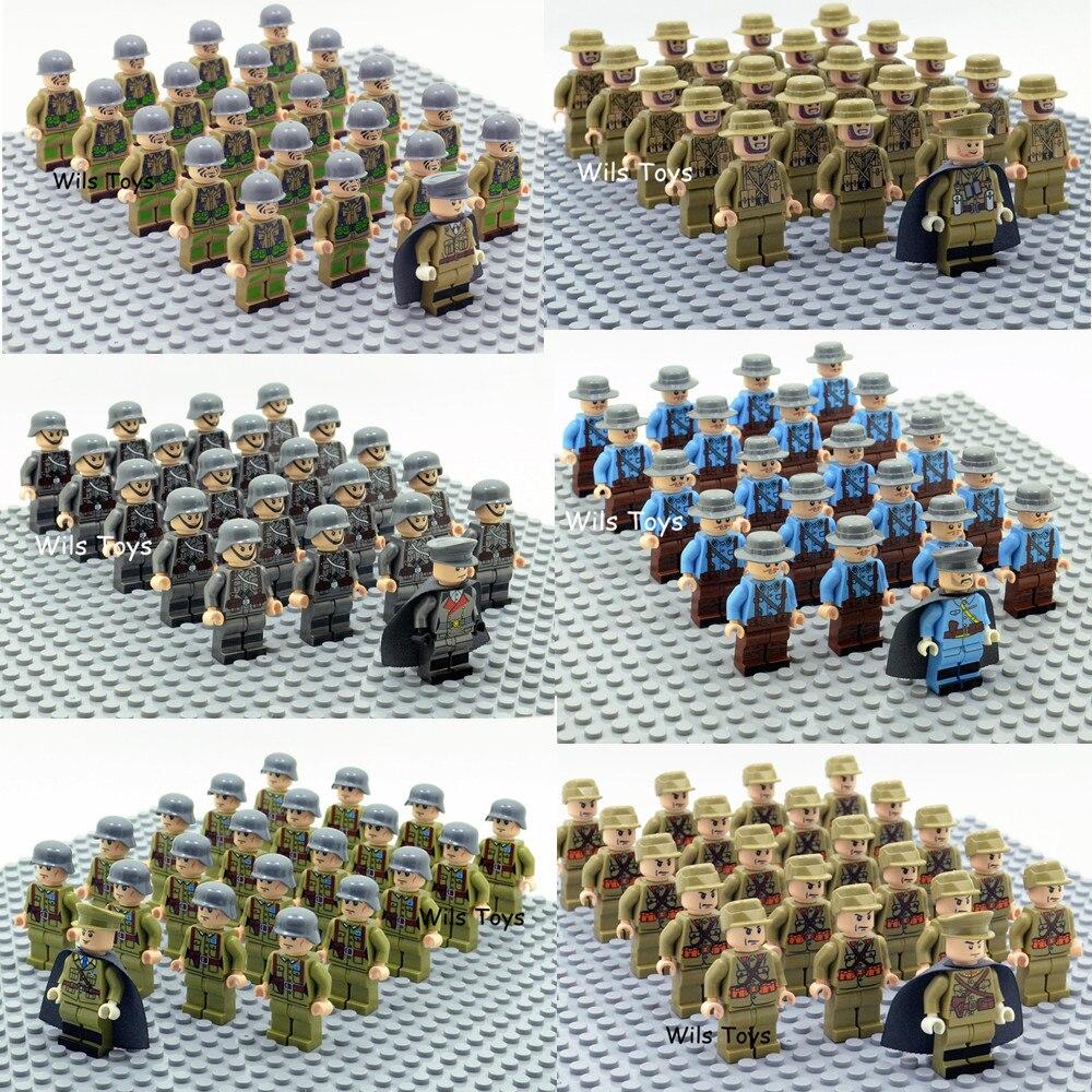 21 piezas oficial soldado WW2 alemán del ejército de tropas militares equipo SWAT arma bloques de construcción ladrillos cifras educativos juguetes para los niños