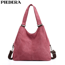 PHEDERA New Female Shoulder Bags Casual Canvas Women Handbags Winter Blue Burgundy Brown Messenger Bag 2019 Purse
