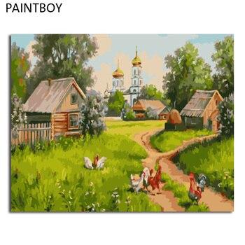 PAINTBOY cuadros enmarcados pintura por números paisaje pintura al óleo de la lona del trabajo hecho a mano decoración para el hogar