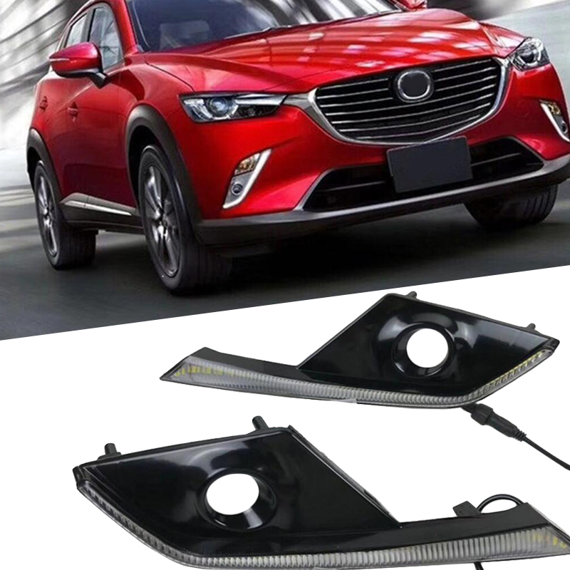 Daylight For Mazda CX-3 CX3 2015 2016 2017 2018 Daytime Running Light Dimming Style Relay 12V Waterproof ABS Car LED DRL led daytime running lights 1 set 12v drl for mazda cx 3 cx3 2016 2017 with fog lamp hole high quality