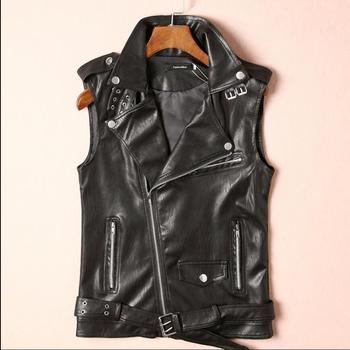 M-3xl Youth Sleeveless Pu Leather Vest Men's Tide Punk Diagonal Zipper Leather Vest Lapel Vest Locomotive Leather Vest Jacket