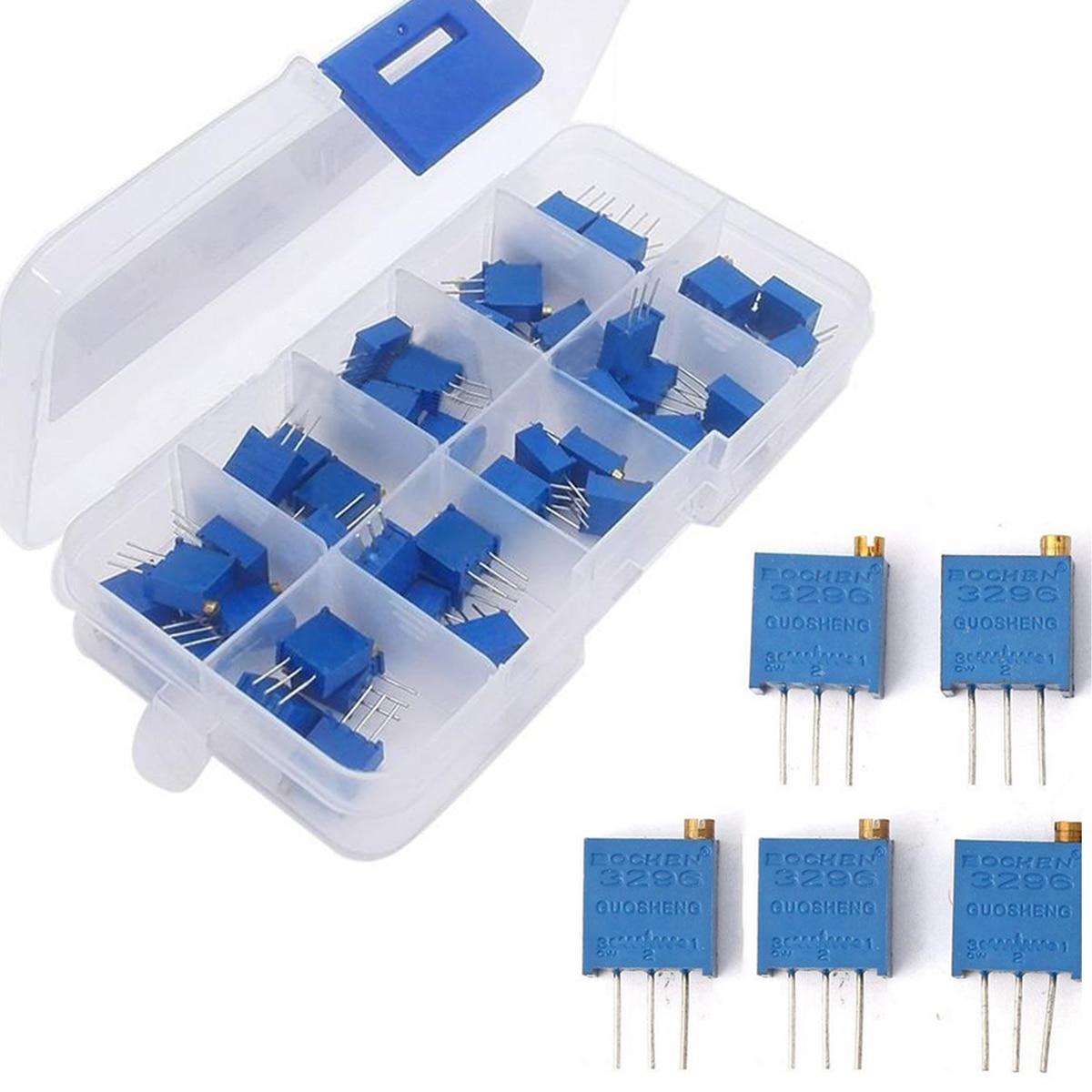 50pcs 3296W Trimmer Potentiometer Kit 10 Value Multiturn Variable Resistor Set with Plastic Box 50pcs 3296w 200 ohm multiturn potentiometer pot variable resistor
