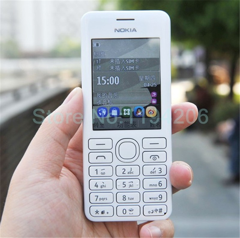 new smart phone Nokia 206 2060 2G GSM 1.3MP 1100mAh Unlocked Cheap Celluar Phone dual sim card blue 3