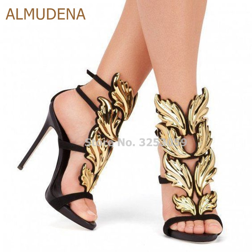 ALMUDENA Sexy Leaf Designer Gladiator High Heel Sandals Gold Silver Red Blue Buckle Strap Banque Shoes Dress Pumps Wedding Shoes bronze silver gold buckles shoes slippers sandals shoes strap laces clothing bag 8mm belts buckle clip 500pcs lot free shipping
