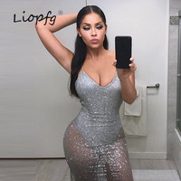 2017 summer bursts women's V-neck sexy sling halter conjoined nightclubs glitter sequins dress A2016