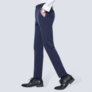 Image 2 - Mens Wrinkle Free Casual Stretch Solid Trouser Pant Flat Front Slim Straight Fit Summer Thin Dark Blue Business Dress Pants