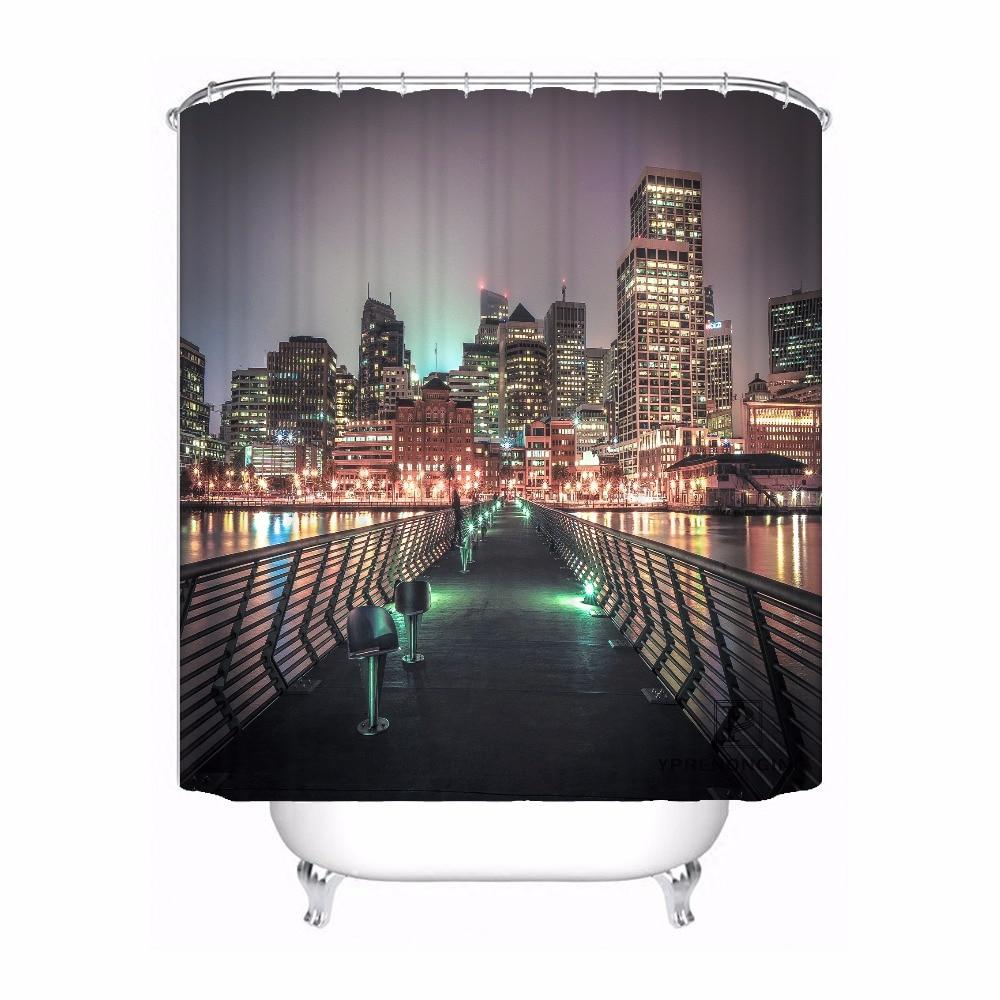 Custom Bay Bridge and San Francisco Waterproof Shower Curtain Home Bath Bathroom s Hooks Polyester Fabric Multi Sizes180509-07