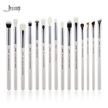 Jessup Brand Pearl White/Silver Professional Makeup Brushes Set Make up Brush Tools kit Eye Liner Shader natural-synthetic hair
