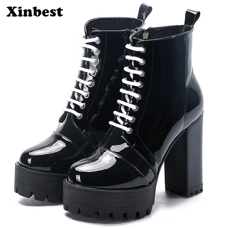 Xinbest 2018 Women Boots Round Toe Women High Heel Shoes Square heel Womens Winter Boots Casual Fashion Ankle Boots For Women basic 2018 women thick heel ankle boots black pu fleeces round toe work shoe red heel winter spring lady super high heel boots