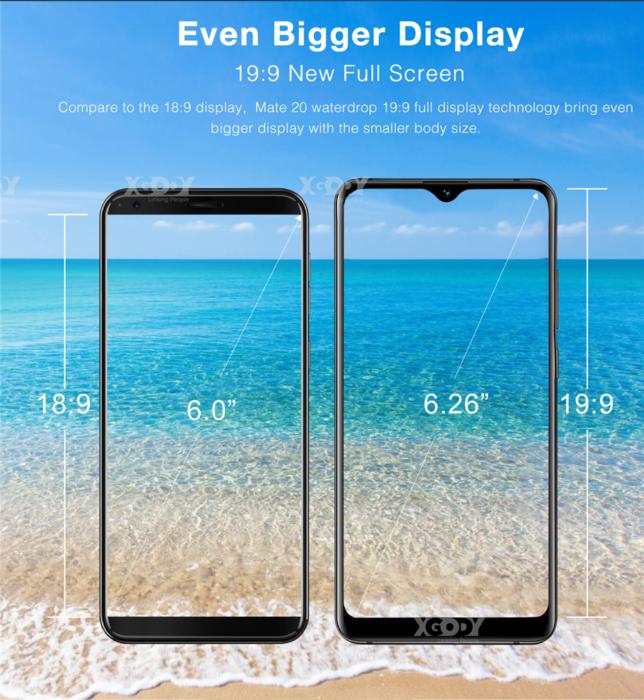 HTB1cGdvXf1H3KVjSZFBq6zSMXXaI Xgody Smartphone Quad Core Android 9.0 3500mAh Cellphone 2GB+16GB 6.26 inch 19:9 Screen Dual Camera 4G Mobile Phone Mate 20