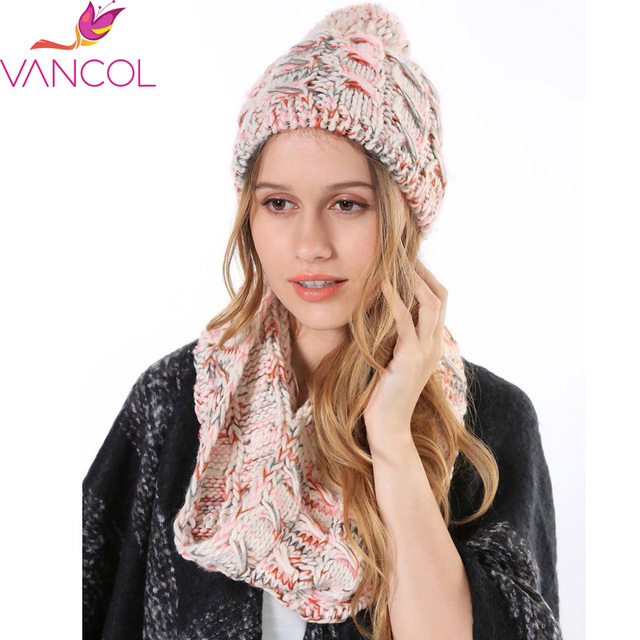 286e7f28e77 2015 Wholesale Hat and Scarf Set for women Colorful Knitted Woolen Neck  Scarf Warm Ring Circle Scarves Warm Snood Women s Hats