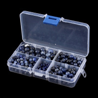 340pcs Box 4 6 8 10mm Round Blue Lapis Lazuli Crystal Loose Beads Natural Stone Jewelry