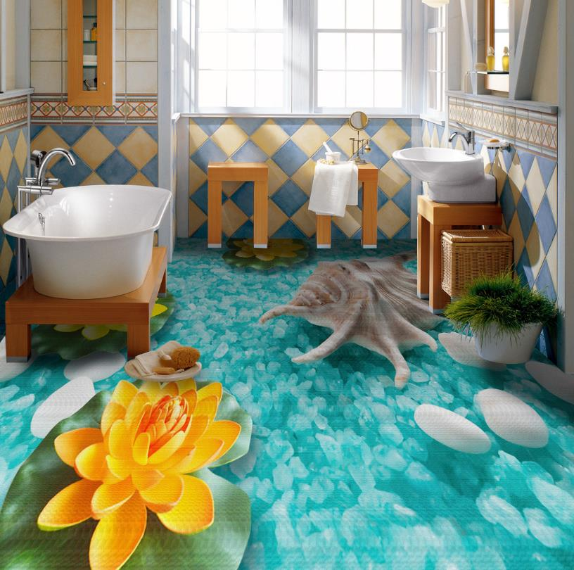 papel de parede 3d Flooring The underwater world Wallpapers For Living Room Bedroom Bathroom Self adhesive Photo Wallpaper free shipping bathroom flooring custom living room bedroom self adhesive photo wallpaper wood pile wood 3d flooring