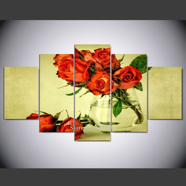 HD Printed Wall Art Poster 5 Panels Beautiful Red Rose Printed ...