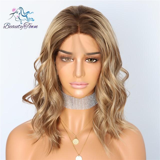 BeautyTown raíz oscura Ombre marrón corto resistente al calor pelo Blogger maquillaje diario sin pegamento sintético encaje frontal boda fiesta pelucas