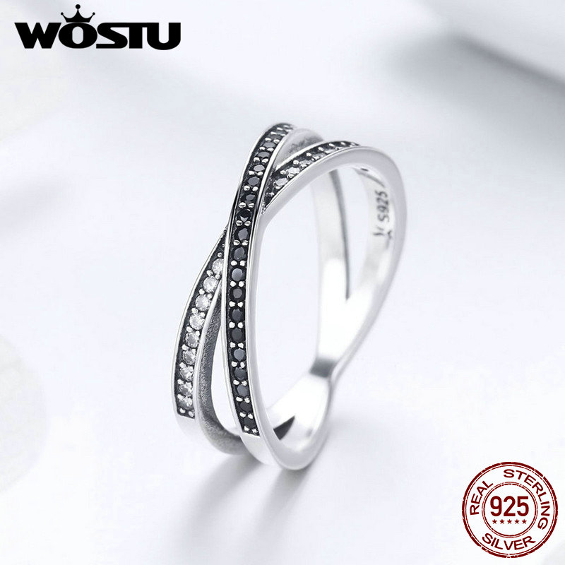 WOSTU 100% 925 Sterling Silver Black Crossed Circle Finger  Ring For Women Silver Anniversary Rings Fashion Jewelry Gift FIR439