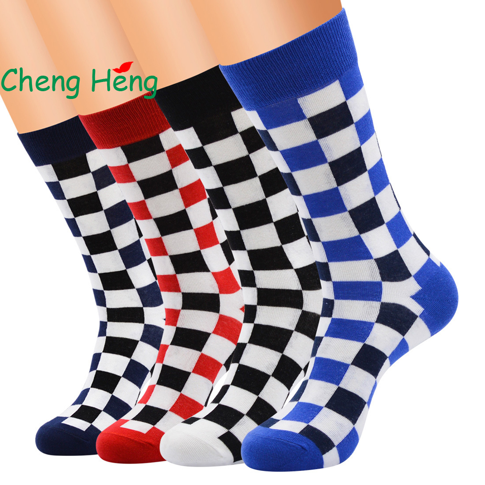 Cheng Heng 12 pairs/bag New Hot Summer European style Men Socks Personality Plaid color pattern Cotton Socks Mens 5 colors
