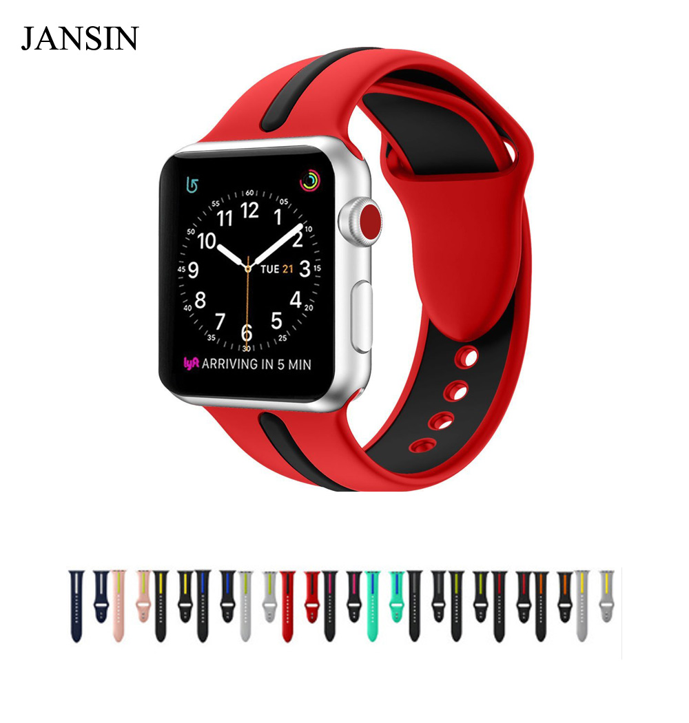JANSIN Soft Silicone Replacement Sports Band For Apple Watch Series 1/2/3 38mm 42mm Wristband Strap Bracelet For iWatch band javrick silicone wristband bracelet band replacement for garmin vivoactive acetate watch sports watch watchbands accessories