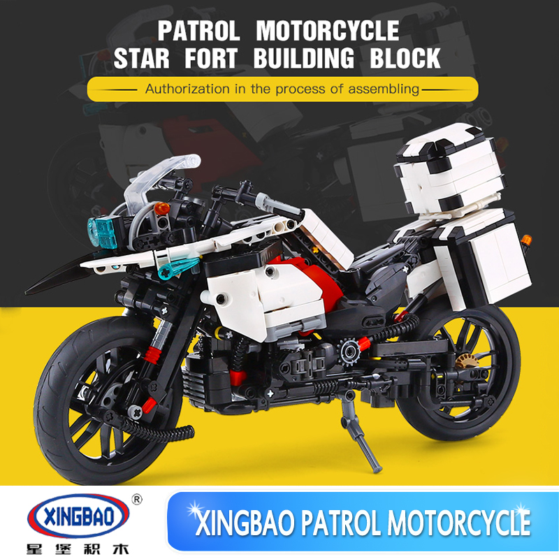 XINGBAO 03019 Bricks The Patrol Motorcycle Set 1075PCS Building Blocks Kits Educational Funny Toys As New Year Gifts for Child new electronic wristband patrol dogs kids paw toys patrulla canina toys puppy patrol dogs projection plastic wrist watch toys