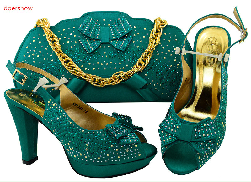 doershow African Shoes And Bags To Match High Quality Womwn Shoes and Bag Sets Italian Shoes And Bag Set For party!IU1-25 doershow high quality italian shoe and bag to match women shoes african party shoes and bag set green with rhinestone kh1 3