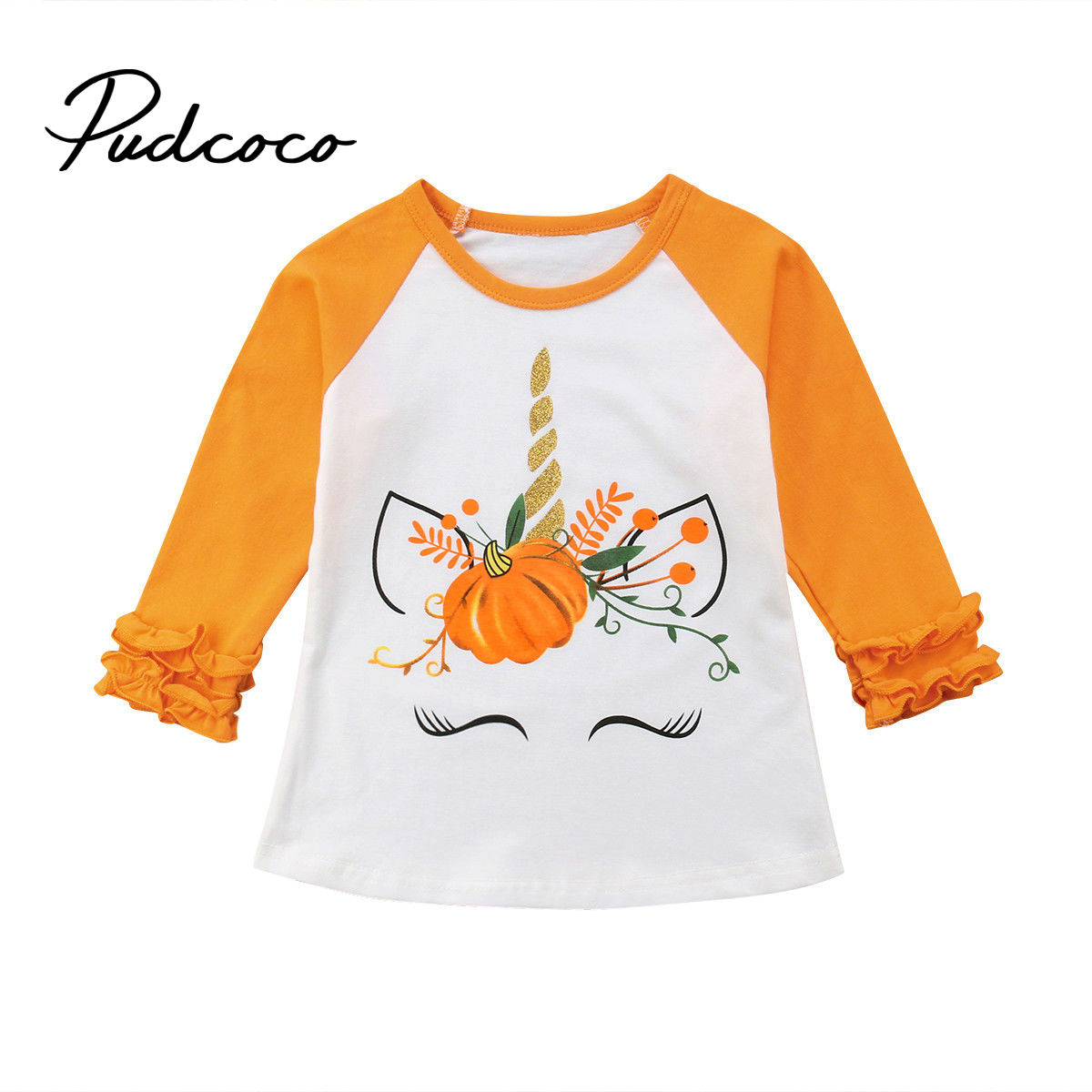 T-Shirt Unicorn Pumpkin Long-Sleeve Floral-Side Toddler Girl Baby Kids Cotton New