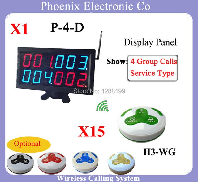 Sistema de Fila simples Incluindo Receptor de Exibição Do Menu E Botão de Chamada Restaurante, 1 PCS Receptor e 15 pcs H3 Botões para Chamar Garçom