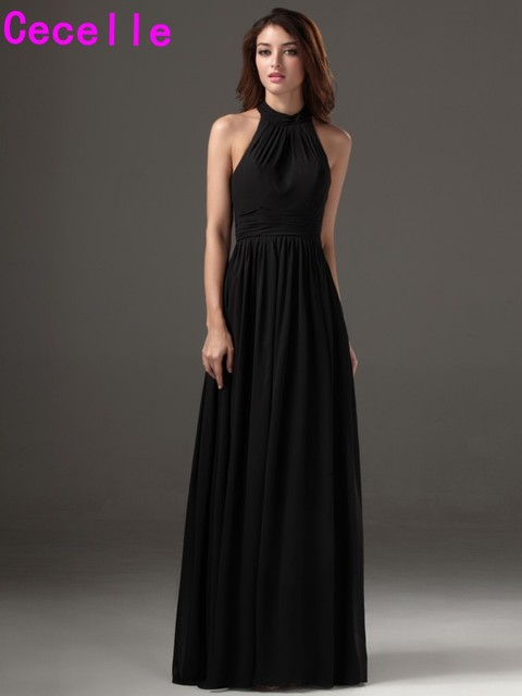 baf016d735c 2019 Cheap Long Black Formal Chiffon Bridesmaid Dresses Halter A-line Floor Length  Beach Wedding Party Dresses Custom Made New