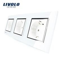 Панель, тройной кристаллический livolo питания, вилки силы розетка стандартный выход стекла