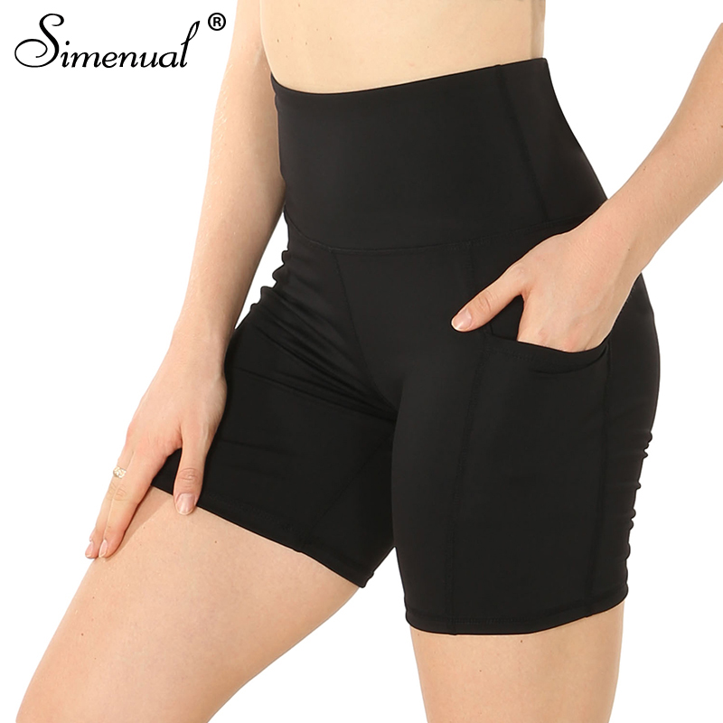Simenual Pockets high waist women biker   shorts   push up active wear workout athleisure cycling   shorts   female solid bodybuilding