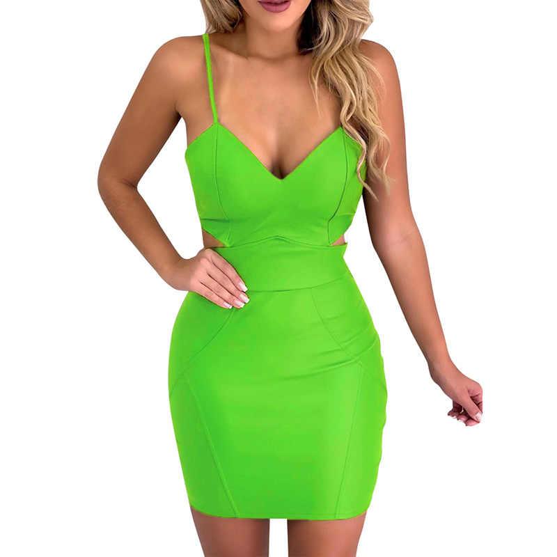 Женское платье, Женская Клубная одежда, с v-образным вырезом, облегающее, модное, для ночного клуба, короткие, вечерние, однотонные, на бретельках