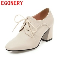 EGONERY women good quality high heels shoes casual shoes lace up office ladies spring autumn big size new style square toe pumps