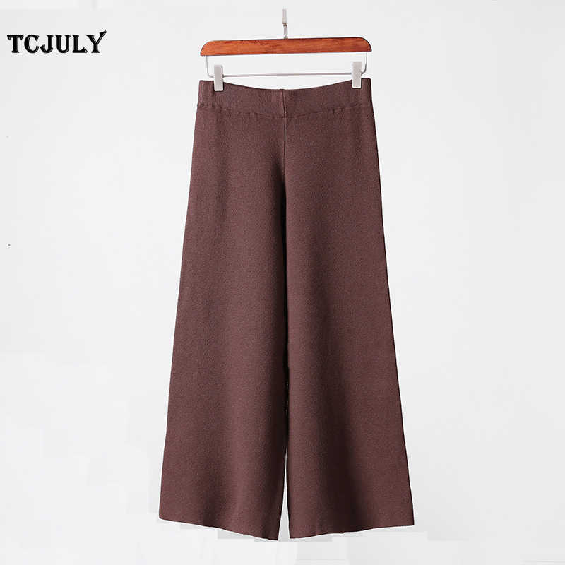 807e4bb7c8146 TCJULY 2019 New Knitted Wool Pants Warm Winter Trousers Solid Loose Wide  Leg Pants Vintage Thicken