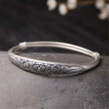 New Fashion Hot Selling Women Peony Flower Bracelets & Bangles 999 Sterling Silver Cuff For Jewelry 23.40G