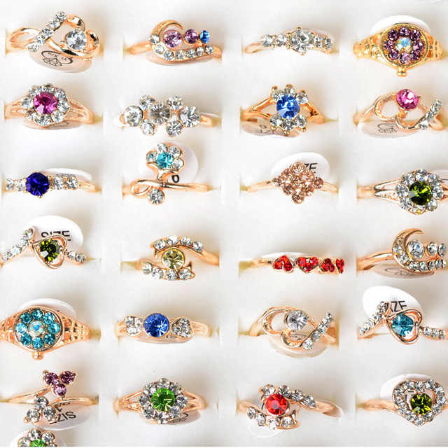 10pcs/lot Mixed Gold Color Colorful Austrian Crystal Rings atacado lote Midi Knuckle Ring  for Women Wedding Jewelry Wholesale