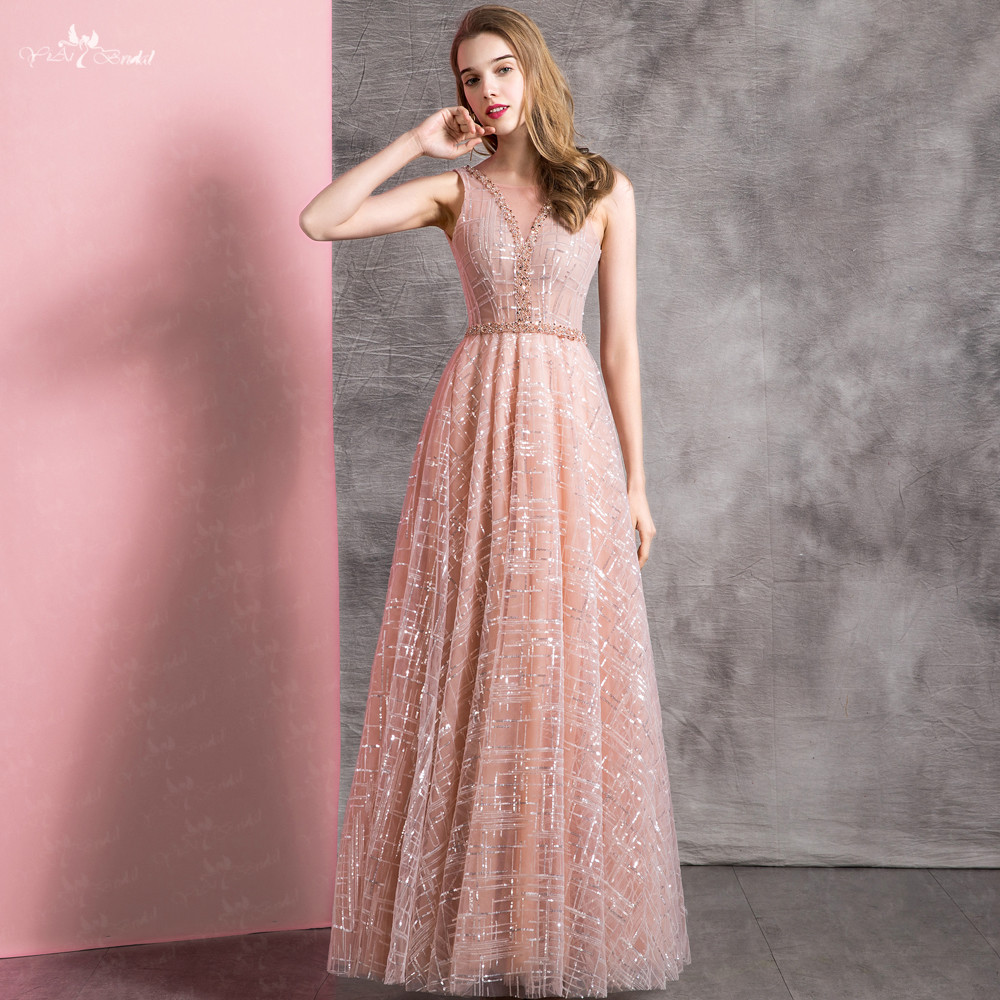 LZF097 Long Evening Dress Glittering Prom Dresses Backless Beading Formal Dress Party Vestido De Festa Longo
