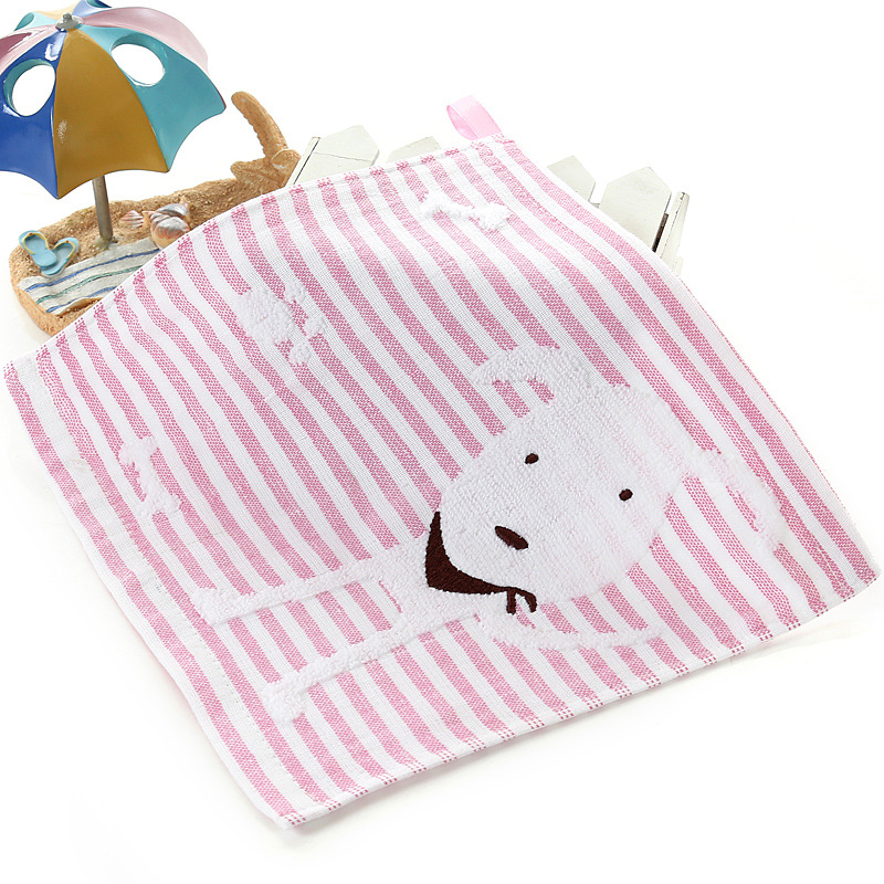 Fashion Stripe Dog Pattern Small Square Handkerchief  Face Hand Wash Towel For Kids Children 25.5*25.5cm FS0655