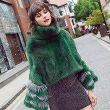 Moda luksusowe kobiety prawdziwa skóra ponczo z futra norek z futra lisa mankiet 100% prawdziwe futro wysoki kołnierz swetry szale i wrap płaszcz