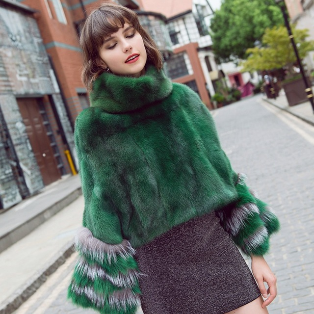 fashion luxury women genuine full pelt mink fur poncho with fox fur cuff 100% real fur high collar pullover shawls and wrap coat